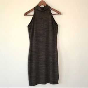 Women's brown marl Mock neck fitted dress size M